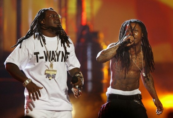 Hip Hop artists  T-Pain  and Lil Wayne at the 2008 BET Awards in Los Angeles